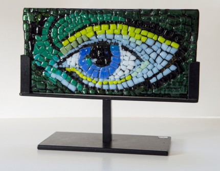 """Who's There?"" Fused glass mosaic, 4 x 8 x 1/4 inches, Signed"