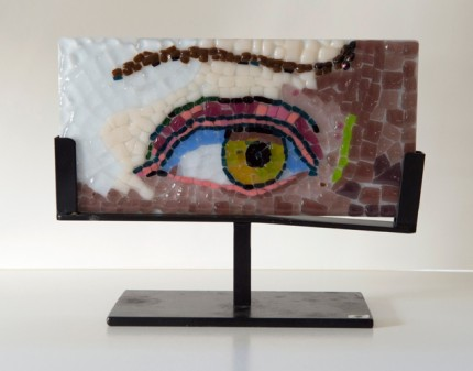 """David's Eye"" Fused glass mosaic, 4 x 8 x 1/4 inches, Signed"