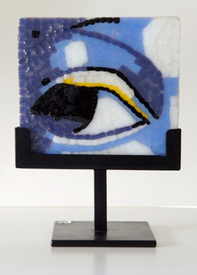 """Inquiring Eye"" Fused glass mosaic, 5 x 5 x 1/4 inches, Signed. Private Collection"