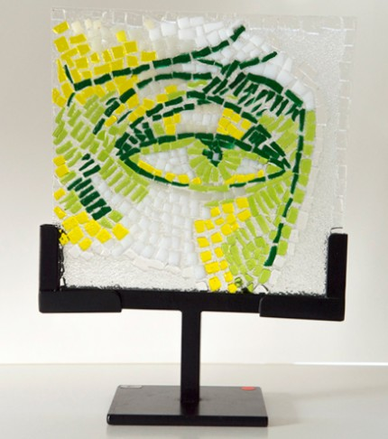 """Morning After"" Fused glass mosaic, 6 x 6 x 1/4 inches, Signed"