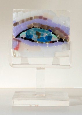 """Bright Eye"" Fused glass mosaic, 3 1/4 x 3 7/8 x 1/4 inches, Signed"