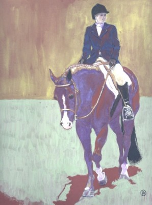 """Her Horse Was Blue"" Casein on paper, 12 x 9 inches, Signed"