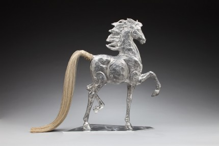 """Saddlebred Style"" Cast recycled aluminum with real horse hair tail, Edition: 1/10, 30 x 24 x 6 inches, Weight: 10 lbs."
