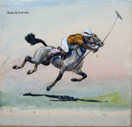 """Heskie & Hinemoa"" c. 1973, Gouache on paper, 11.5 x 11.5 inches, Private Collection 