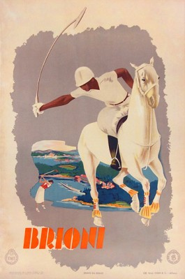 """Brioni Polo Player"" c.1935, 24 x 38 inches (60 x 96 cm) - A polo player takes a swing in the foreground while a female golfer tees off in the background in this original vintage travel poster promoting the Italian spa and sport town of Brioni."