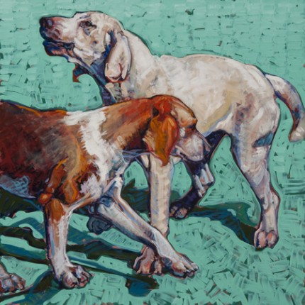 "Leslie Shiels (American Contemporary) ""Crossed Hounds"" Oil on linen, 30 x 30 inches, Signed"