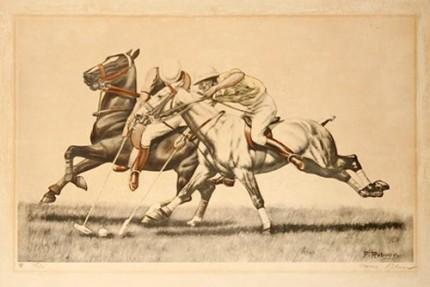 "Francois Rebour ""Polo Poster"" c. 1935, 25 x 17 inches"
