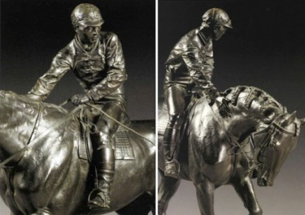 """Le Grand Jockey"" Bronze with dark brown patina, 37.25 x 43 x 13 inches, Signed on base, Signed with the editeur's name and address on base: 'BOUDET 43 RUE DES CAPUCINES'"