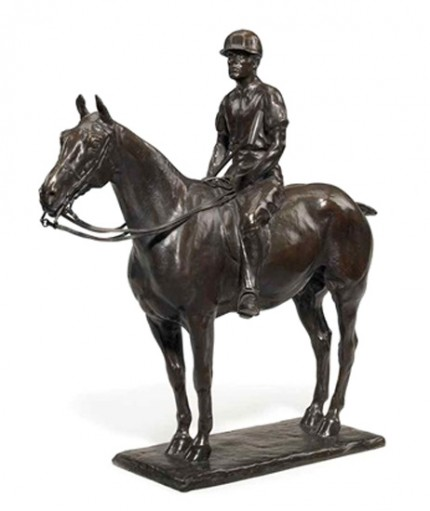 """J.C. Rathbone"" c. 1911, Bronze, Chocolate brown patina with golden brown highlights, 20 ½ x 21 inches, Signed CC Rumsey and inscribed Roman Bronze Works N-Y-"