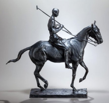 """Polo Player on Pony: Harrison Tweed"" c. 1910-12, Bronze, Edition of 25, 19 x 20 x 6 inches. Harrison Tweed was a polo player and friend of Charles Rumsey, as well as a member of Meadowbrook Polo Club."