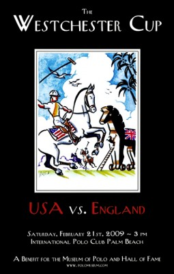 Westchester Cup 2009 USA vs. England, Framed Poster Print, 17 x 11 inches, Framed: 19 x 13 inches, Signed