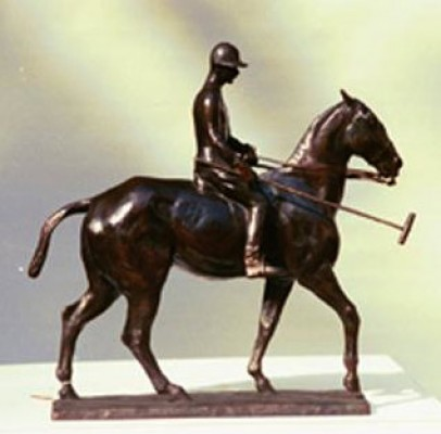 """Polo Player on Pony: John R. Fell"" c. 1910-14, Bronze, Edition of 25, 16 x 17 x 3 inches. John R. Fell was a well known polo player with the Meadowbrook Polo Club Long Island, New York."