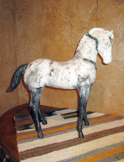 """Little Poco II"" Horse hair fired clay, 18 x 18 inches"