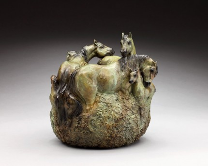 """Spring Foal Crop"" Herd of mares and foals, Six in total, Bronze, 14 x 13 inches, Signed - The Bronze is a ring that can be placed over a flower bowl or vase as a center piece or shown by itself in the round."