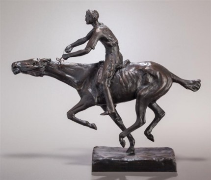 """Winning the Race"" Bronze with brown patina, 9 ¼ x 11 ¼ x 3 ¼ inches"
