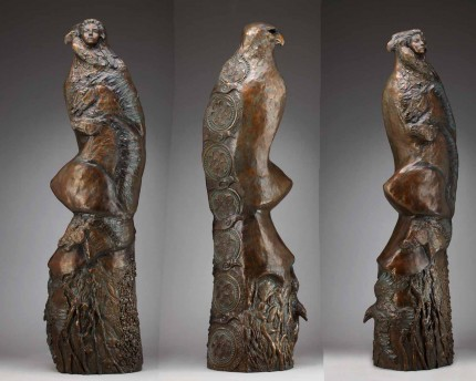 """The Spirit of Women"" (Multiple views) - Totem animals and the phases of a woman's life combine into an eight foot tall bronze sculpture."
