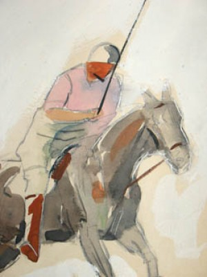 """Polo Players Cleveland, Ohio: 1934 - III"" Graphite and watercolour on illustration board, 17 x 13 inches, Signed in pencil and dated lower right: Lorin Black – 34"