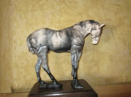 """After the Match"" Polo pony at rest, Horse hair fired clay, Hand built, Mixed media"
