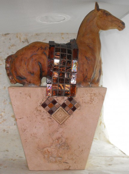 """Coolin' Down"" Polo pony with glass mosaic blanket, Sculpted from stoneware"