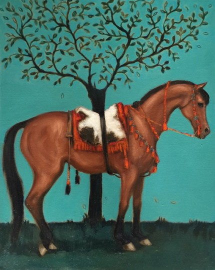 """Jordanian Horse I"" Oil on Linen, 14  x 11 inches, Signed"