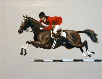 """""""Long Jump"""" Oil on linen, 11 x 14 inches, Signed"""