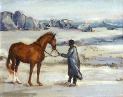 """Bedouin Holding a Horse"" Jordan - Oil Sketches, Oil on linen, 11 x 14 inches, Signed"