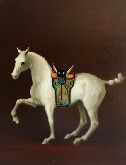 """Mongolian Horse VII"" Oil on linen, 26 x 20 inches, Signed, Gallery wrapped"