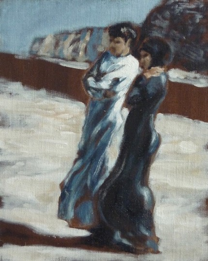"""Couple on an Overlook"" Oman - Studies in Light, Oil on archival board, 10 x 8 inches, Signed"
