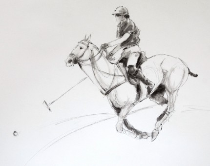 """Polo Study - Charcoal Sketch I"" Mashomack Polo Club - Polo Pony and Player Pitched Forward, Charcoal & Wash on paper, 11 x 14 inches, Signed"