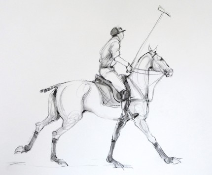 """Polo Study - Charcoal Sketch IV"" Mashomack Polo Club - Polo Pony with Hooves Hugging the Ground, Charcoal & Wash on paper, 11 x 14 inches, Signed"