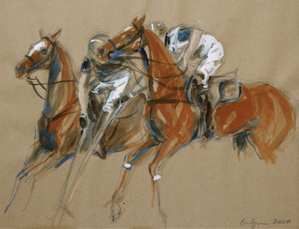 """Polo Study - Gouache Sketch I"" Haviland Hollow Polo Club - Two Polo Ponies, Gouache & Prisma pencil on brown paper, 11 x 14 inches, Signed & Dated: 2010"
