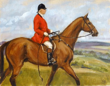 """Huntsman on a Bay Horse"" The Millbrook Hunt, Oil on archival linen board, 11 x 14 inches, Signed"