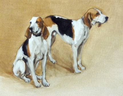 """Two Hounds"" The Millbrook Hunt, Oil on archival linen board, 11 x 14 inches, Signed"