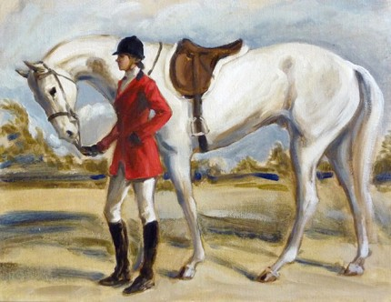 """Woman Holding a White Horse"" The Millbrook Hunt, Oil on archival linen board, 11 x 14 inches, Signed"