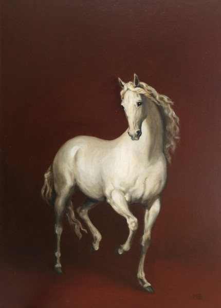 """White Horse II"" Oil on linen, 36 x 26 inches, Signed, Gallery wrapped"
