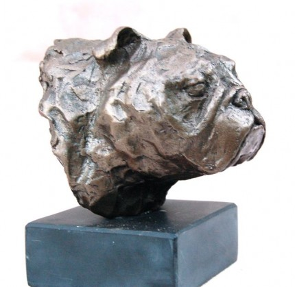 """Bulldog Head Study I"" Bronze, Edition: 1/10, Also available in bronze resin, Edition 1/50 and 2/50, Height: 4.75 inches"