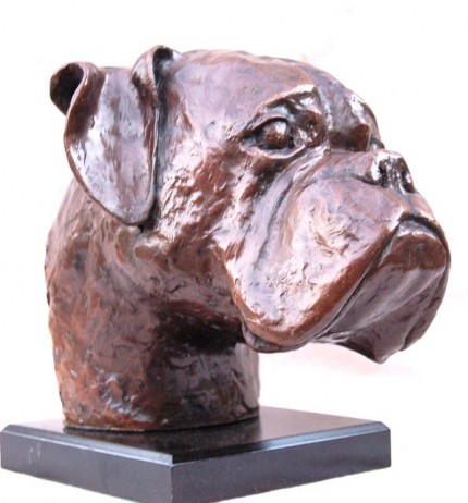 """Life Size Boxer Dog Head"" Edition: 1/6, Bronze, Signed"