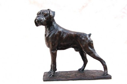"""Proud Boxer Dog"" Edition: 1/8, Bronze, Height: 9.85 inches, Signed"