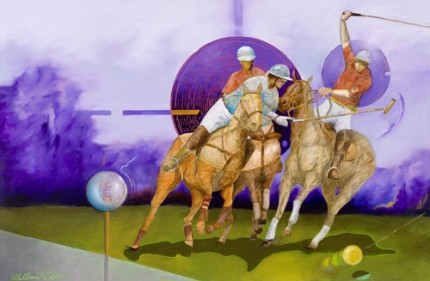"""Polo Science"" 2010, Mixed media, 24 x 36 inches, Signed"