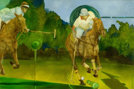 """Polo Fun"" 2010, Mixed media, 24 x 36 inches"