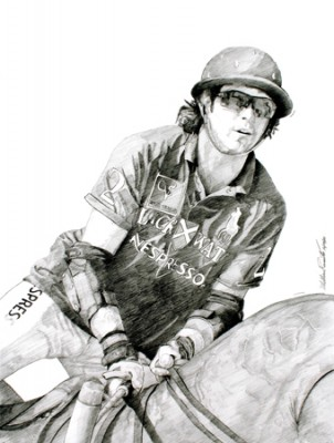 """Nacho Figueras"" 2011, Graphite on vellum, 24 x18 inches, Signed"