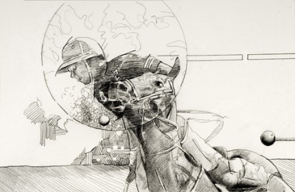 """Polo Tension"" 2010, Graphite on arches paper, 8 x12 inches, Signed"