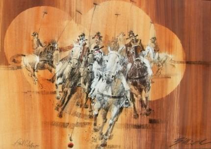"""""""A Real Challenge"""" Pastel on gold wash, 92 x 66 cm, Signed & Framed"""