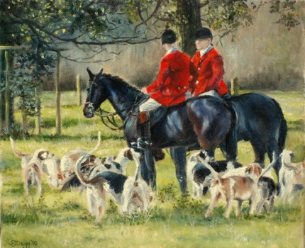 """10 o clock, Belmont Hall - The Cheshire Forest Hunt"" 2010, Oil on canvas, 10 x 12 inches, Signed"