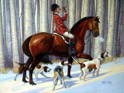 """A Christmas Hunt"" Acrylic on board, 30 x 40 inches, Signed"