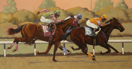 "William Ersland ""Down to the Wire!"" Acrylic on board, 12 x 22 inches, Signed"