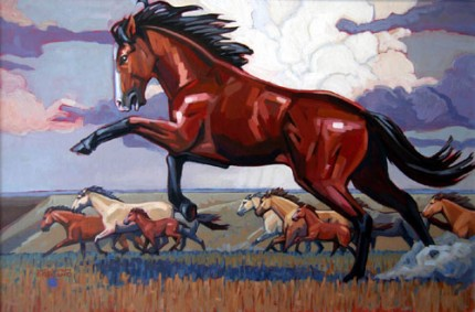 """Herd Boss"" Acrylic on canvas, 20 x 30 inches, Signed"