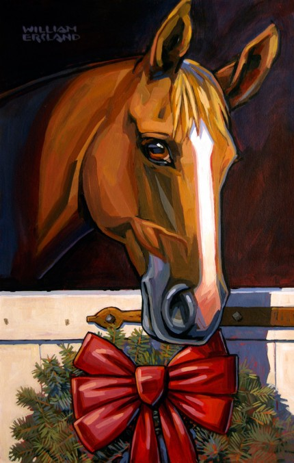 """Barn Greetings!"" Acrylic on board, 20 x 13 inches, Signed"