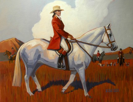 """Fox Hunting in the West"" Acrylic on board, 16 x 20 inches, Signed"