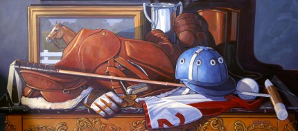 """Still Life With Polo Gear"" Acrylic on board, 18 x 40 inches, Signed"